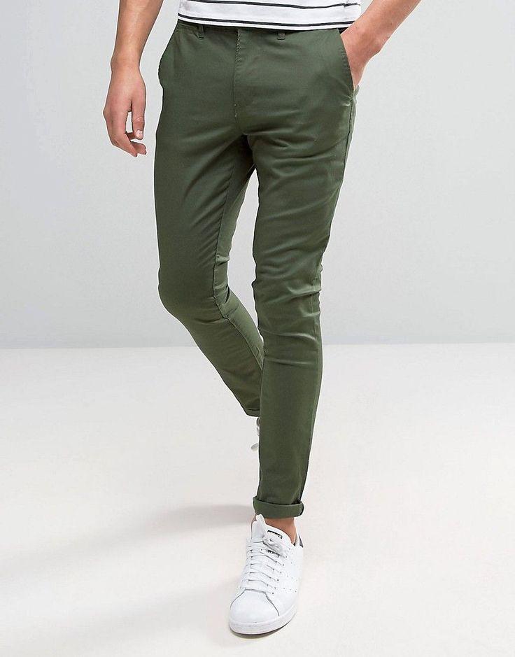 ASOS Super Skinny Chinos In Dark Khaki - Green