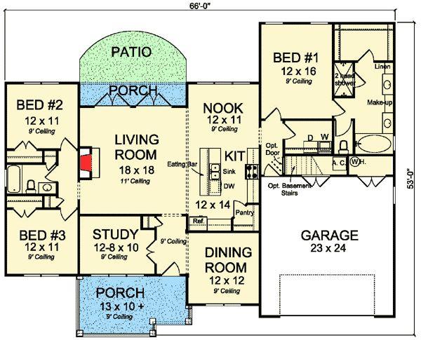 Plan 52239WM: Country Kitchen