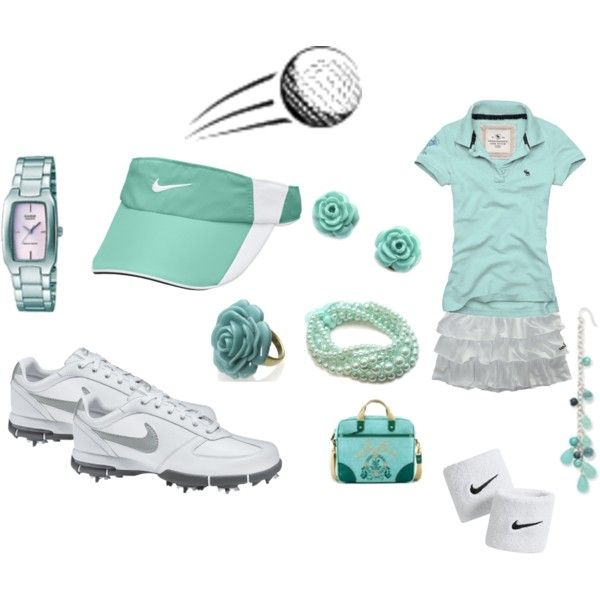 Teal Golf outfit, created by preppedandready.p...