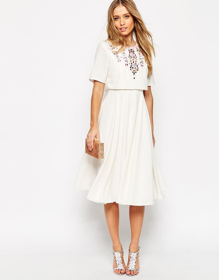 Image 4 of ASOS Embellished Crop Top Midi Skater Dress With Short Sleeves