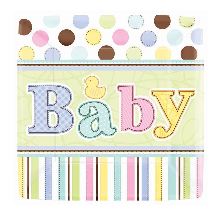 Platos de cartón para baby shower. http://mundobabyshower.cl/platos-tiny-bundle