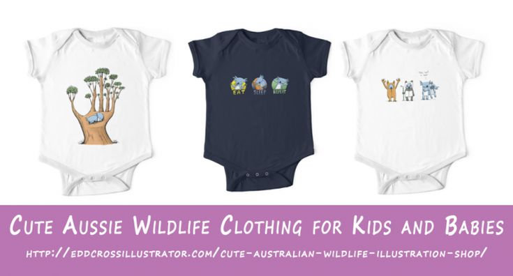 Another product range I am often asked about is kids and babies clothes. Well I can confirm that my cute Australian wildlife designs featuring koalas and possums are available on kids t-shirts and baby grows and tees.  For one pieces: Short sleeve:https://www.redbubble.