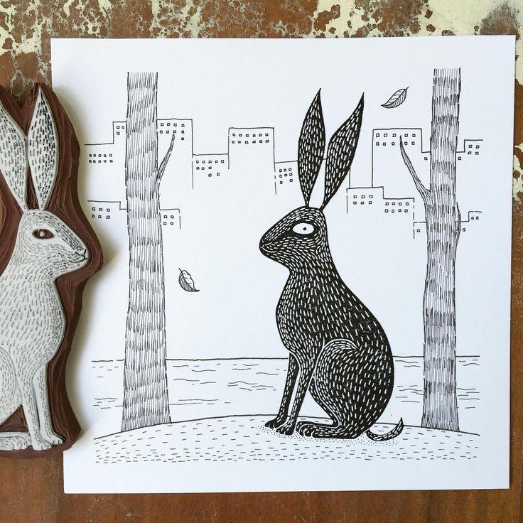 And here's the final result. Hope you'll have a lovely Sunday! #hare #animal #viktoriaastrom #crafting #carving #craft #rubberstamp #handmade #drawing #draw #artistsofinstagram #showyourwork #svartvitt #instaart #inkonpaper #inkdrawing #originalart #stamp #wip #print #printing #art #artwork #artist #deco #design #handcarved #picoftheday #illustration