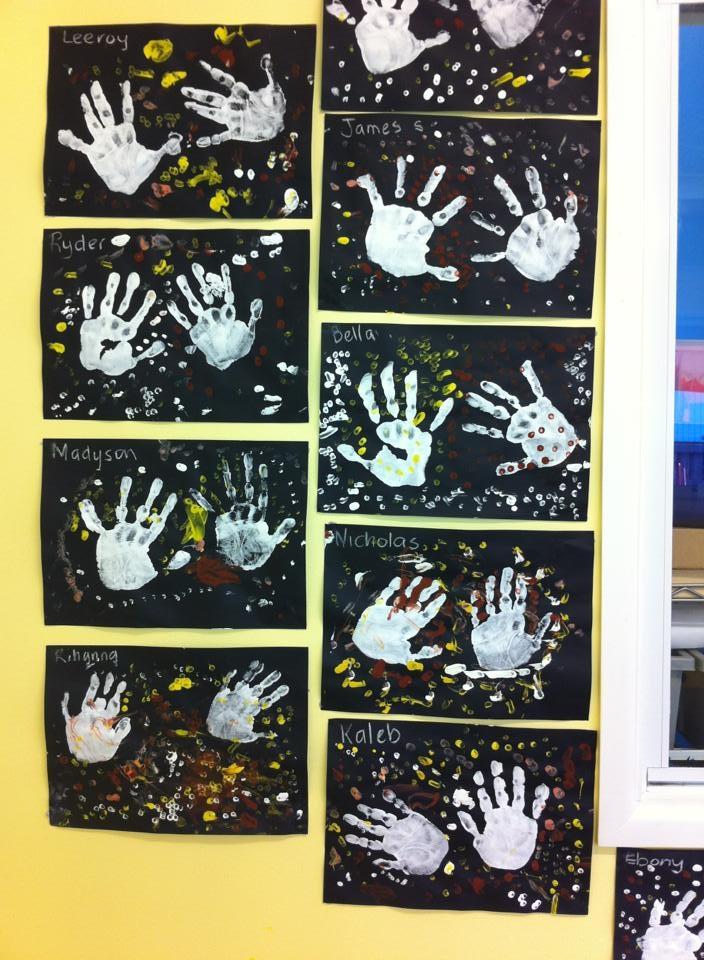 Artwork of  Kindergarten children exploring indigenous art work