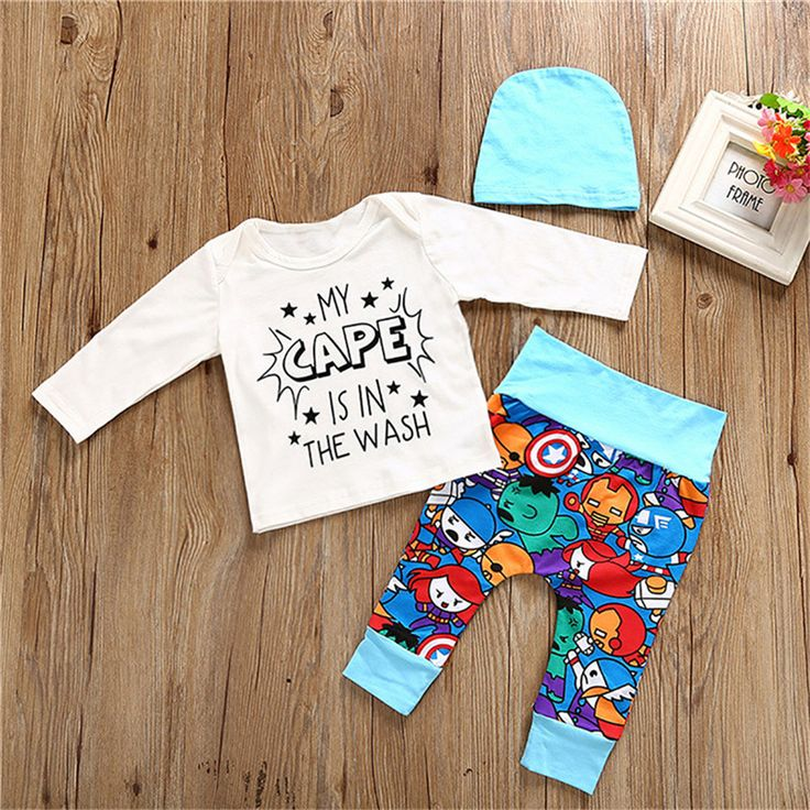 0 24M Newborn Baby Boys Clothes Long Sleeve Tops Romper Cartoon Pants Leggings Hat Outfits 3PCS. Click visit to buy #BabyBoyClothingSets