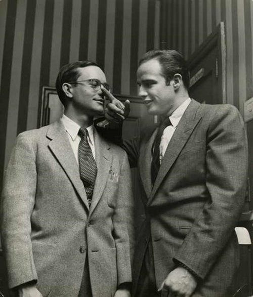 Marlon Brando with his best friend Wally Cox they lived together. Pals to the end