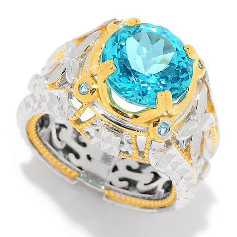 161-241 - Gems en Vogue 4.48ctw Paraiba Color & Swiss Blue Topaz Diamond Cut Ring