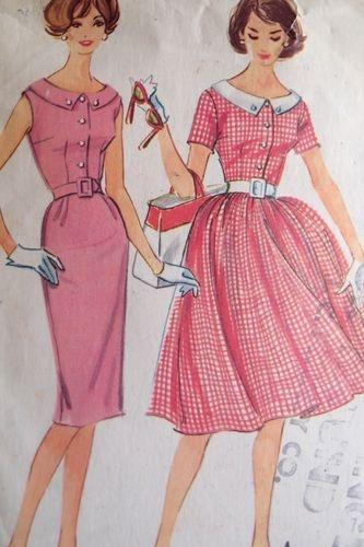 50s 60s vtg McCalls Sewing Pattern full or slim skirt dress darling collar 5369
