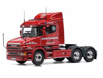Corgi 1:50 Scania T Diecast Model Lorry CC12839 This Scania T Tractor Unit Diecast Model Lorry is Red and features working wheels and also opening bonnet with engine. It is made by Corgi and is 1:50 scale (approx. 14cm / 5.5in long).    Montgomery Transport added this Scania T Cab to their ever expanding fleet three years ago. The 6x2 tractor unit with lifting tag axle and 420bhp engine was purchased second hand, and has since been given a complete overhaul and now carries the Montgomery…