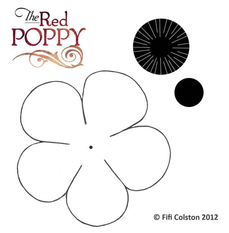 Poppy template. Fill in with tissue paper using a pencil and glue. Makes an easy Remembrance Day decoration.