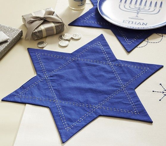 Hanukkah Placemat Set | Pottery Barn Kids (Could make these out of denim)