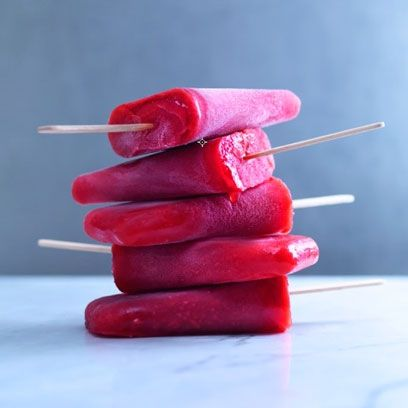 Raspberry and rose ice lolly. For this grown up ice lollies recipe, click the picture or see http://www.redonline.co.uk