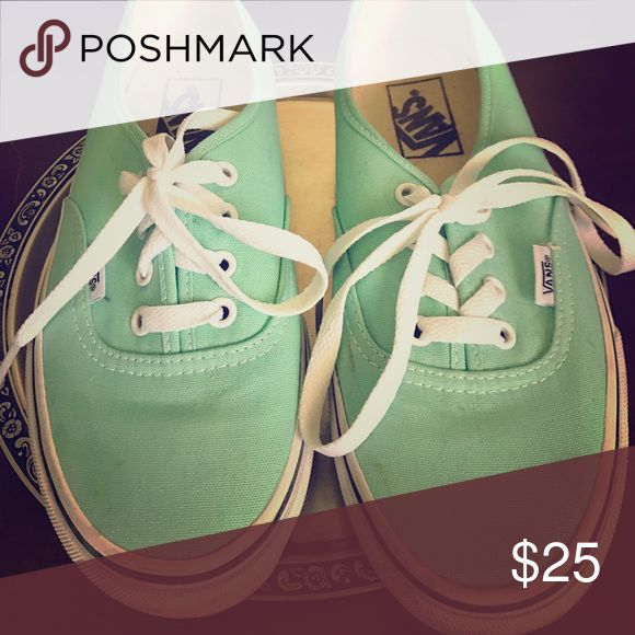 Mint green vans Women's size 6.5 ( or men's size 5 ). They have been worn twice. Good condition. Vans Shoes Sneakers