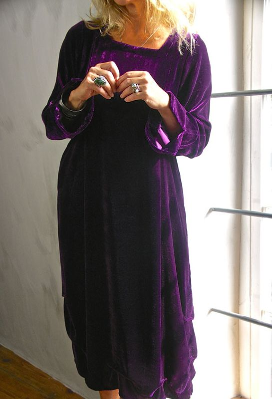 Tasman Dress in purple velvet, £335. Also in royal blue, teal, green. (cord and wools £280).