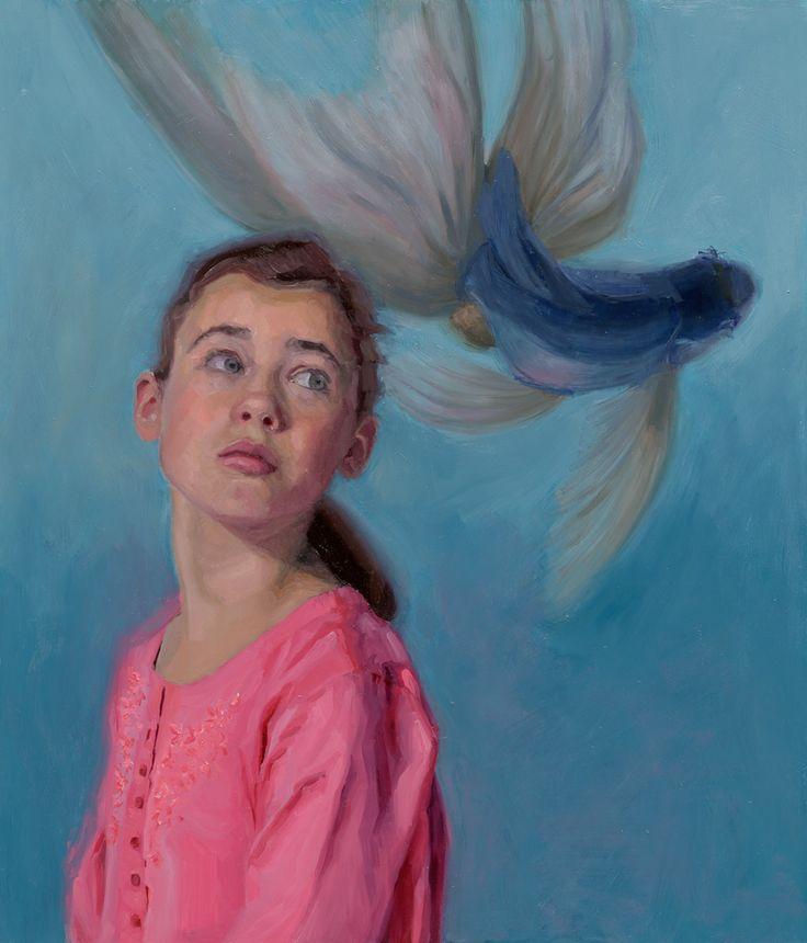 Modelpainting of girl and a fish, by Carolien van Olphen. Oil on panel. 70 x 60 cm. @carolienvanolphen