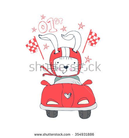 illustration of rabbit champion in racing car/rabbit race winner/elements/fast rabbit/rabbit drives a sports car/hand drawn vector illustration sport for shirt design - stock vector