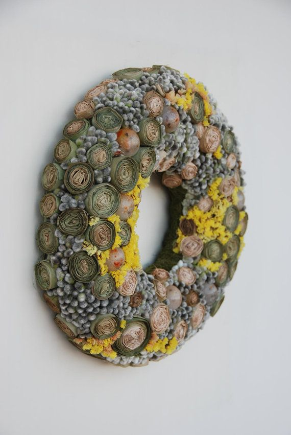 Wreath is made of different dried plants, catkins, paraffin pieces. Best for Mothers day, Housewarming, Birthday, Easter, Thanksgiving, Valentines day. You can hang it on a wall or door, place it on table.  Diameter: Outer: (39cm) 15 inches Inner: (15cm) 6inches Height: (5cm) 2 inches