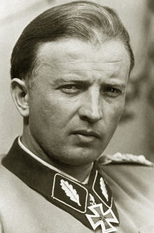 SS-Gruppenführer Hans Georg Otto Hermann Fegelein (30 October 1906– 28 April 1945) was a General of the Waffen-SS in Nazi Germany. He was a member of Adolf Hitler's entourage and brother-in-law to Eva Braun through his marriage to her sister, Gretl. Units under his command on the Eastern Front were responsible for the deaths of over 17,000 Jews and other civilians during the Pripyat swamps punitive operation in the Byelorussian SSR in 1941. Fegelein was shot for desertion on 28 April 1945.