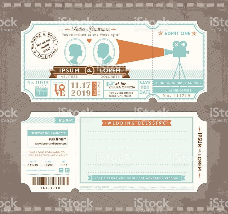Movie Ticket Wedding Invitation Design Template royalty-free stock vector art