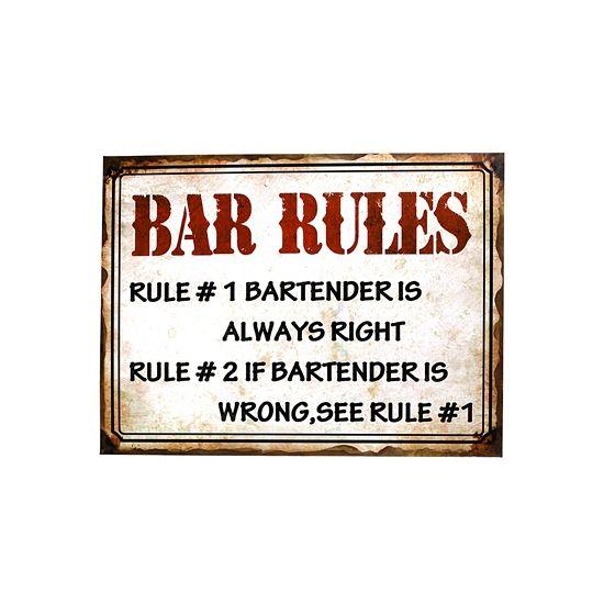 Metalen plaat bar rules  Metalen muurplaat bar regels 30 x 40 cm. Grote decoratie plaat voor aan de muur met de tekst: bar rules. Formaat: ongeveer 30 x 40 cm. Materiaal: metaal.  EUR 7.95  Meer informatie