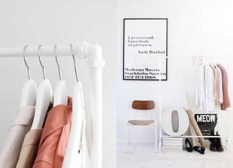 Arara feita de cano de PVC.: Closet Spaces, Coats Racks, Clothing Racks, Garment Racks, Diy Clothing, Garage Sales, Pvc Pipes, Andy Warhol, Diy Projects