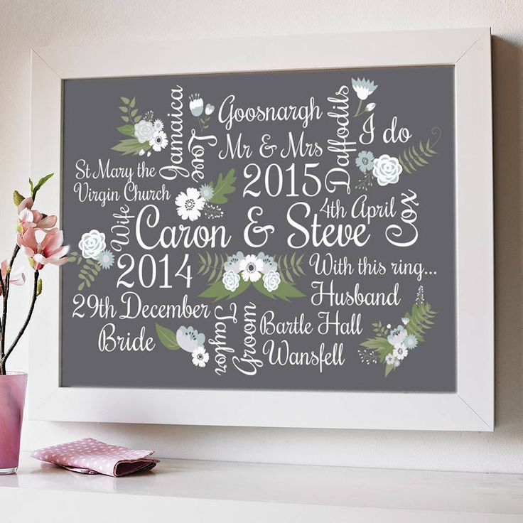 Personalised Floral Wedding And Anniversary Print