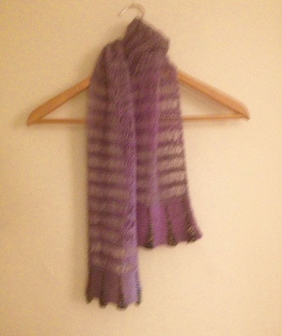 Hand knit beaded mauve cotton scarf by WestEndCo on Etsy. www.westendco.etsy.com