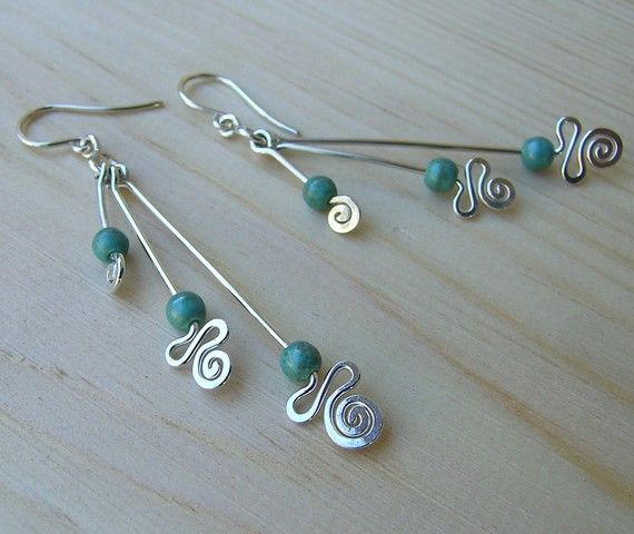 Sterling silver hand sculptured 3 gems earrings by Almendro