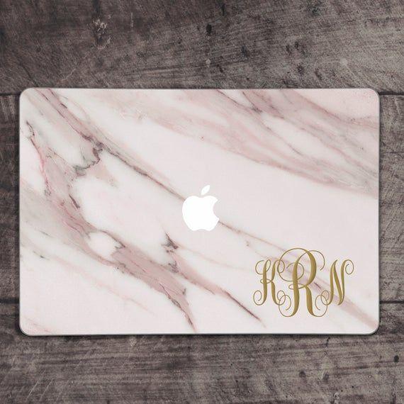 macbook decal monogram macbook decal pink marble macbook decal personalized macbook decal light marb