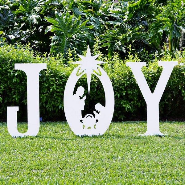 Our Joy Nativity Yard Sign is also available in a classic white silhouette version. $129.99