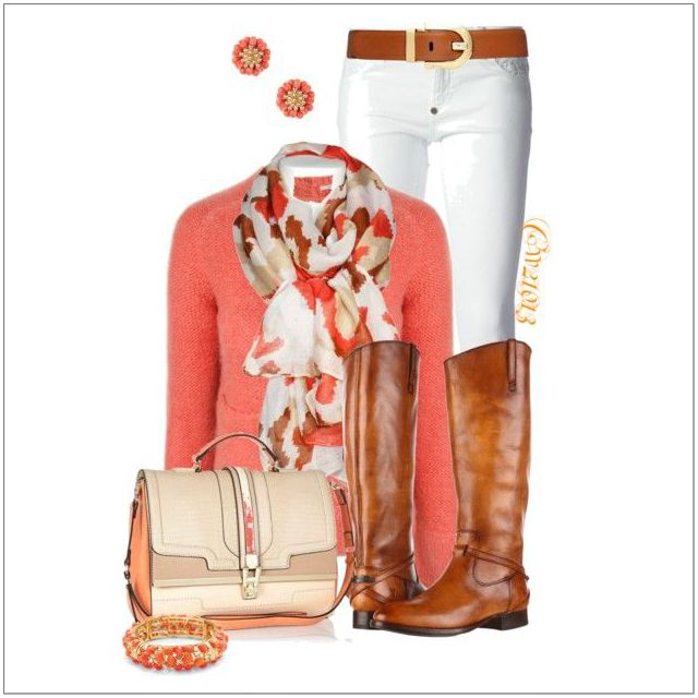 CHATA'S DAILY TIP: When preparing your summer wardrobe, keep your lightweight cardigans handy for the seasons change. Apricot flatters most skin tones, and looks fresh when co-ordinated with crisp white trousers. Team with tan boots, or swap for tan leather ballerina flats. A delicate printed scarf pulls the look together. COPY CREDIT: Chata Romano Image Consultant, Marlise du Plessis http://chataromano.com/credit/marlise-du-plessis/ IMAGE CREDIT: Pinterest