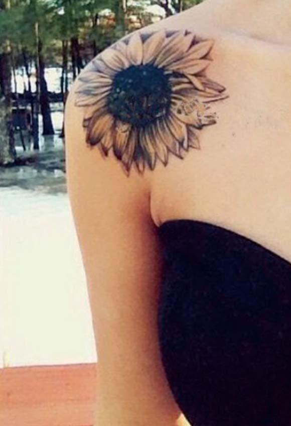Shoulder Sunflower Tattoo Ideas for Women at MyBodiArt.com - Black Vintage Flower Arm Tat