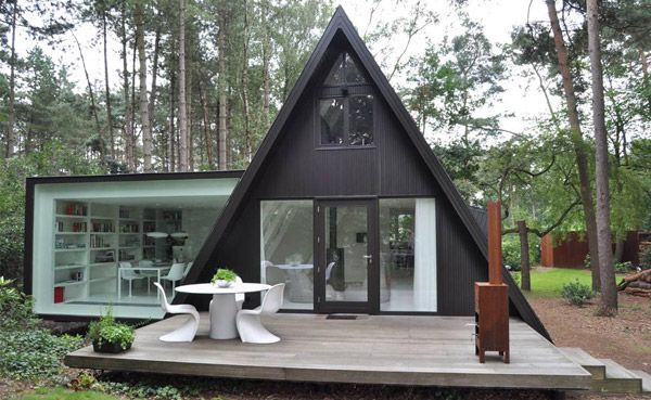 Rectangular Addition to Triangular A-frame House: Extension, Dreams Cabins, Houses Renovation, Aframes, Houses Exten, Architecture, Mountain Houses, Small Houses, A Frames