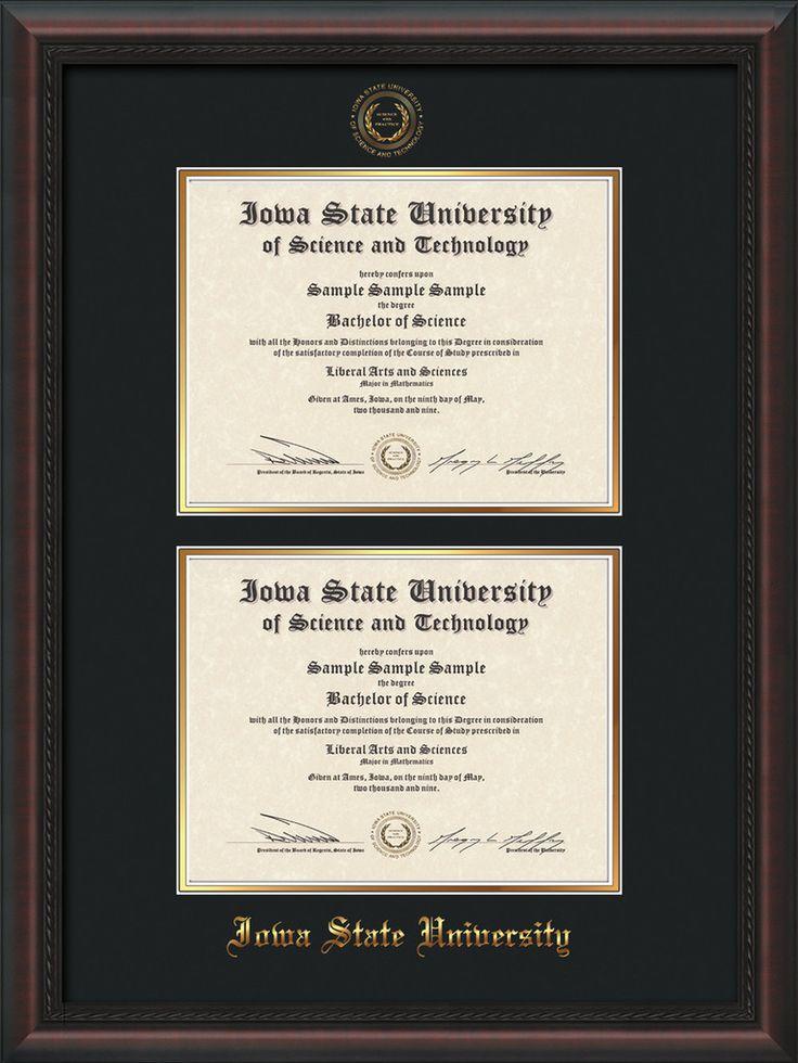 Iowa State U Diploma Frame - Mahog Braid - w/ISU Seal - Double Diploma – Professional Framing Company
