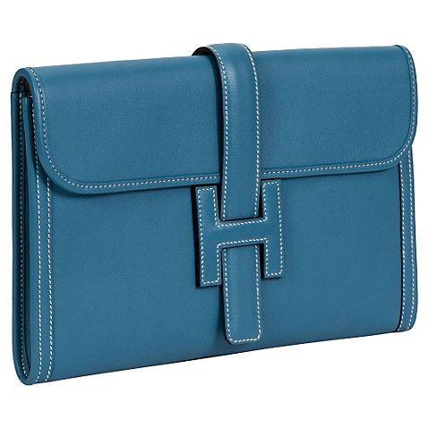 Hermès Blue Jean Swift Jige Clutch