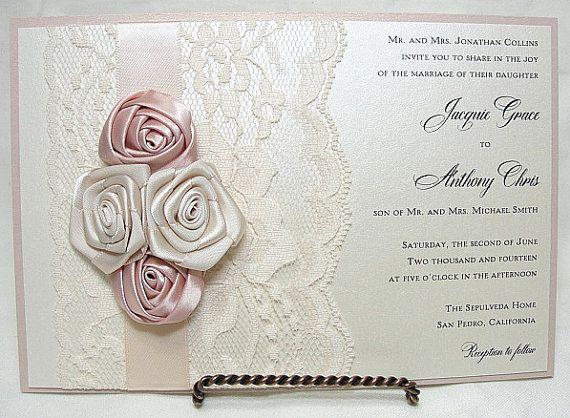 ROSETTE Lace Wedding Invitation Invite Vintage by LavenderPaperie1, $693.75