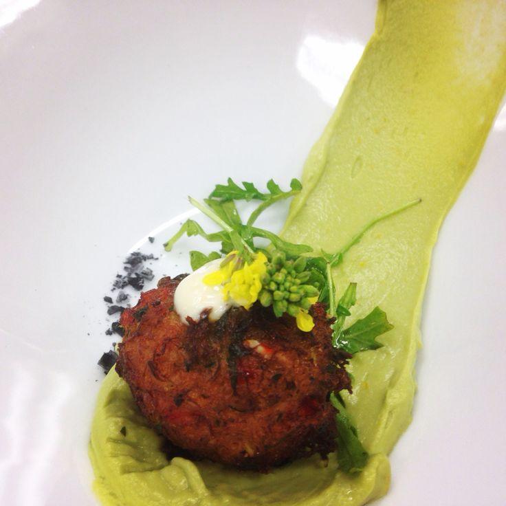 Crab Fritter with avocado mousse, Meyer lemon, garlic aioli, mustard flowers, arugula #vistavalley #sandiego #food #countryclub #chefgerlach  #crab