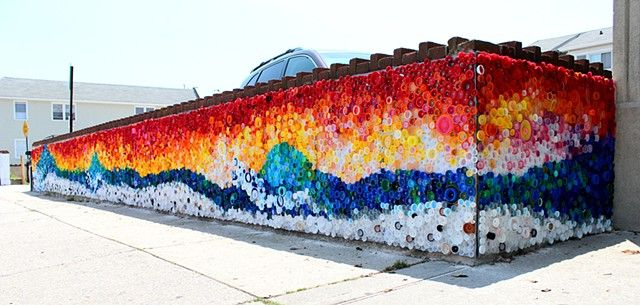 """When the Beach Met the Bay"" Created by Lisa Be Sponsored by Project Vortex Approx. 440 sq. ft. Approx. 25,000 plastic caps, galvanized sheet metal, rivets Long Beach, NY    #plastic #bottle #caps #recycled #mural #publicart #streetart #upcycled #eco"