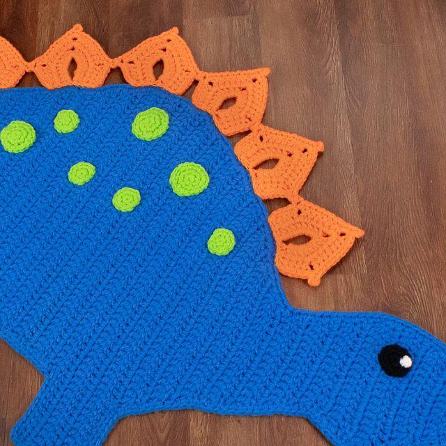 Crochet Pattern Spiky The Stegosaurus Dinosaur Rug Nursery Mat Etsy Crochet Rug Patterns Crochet Patterns Crochet Rug