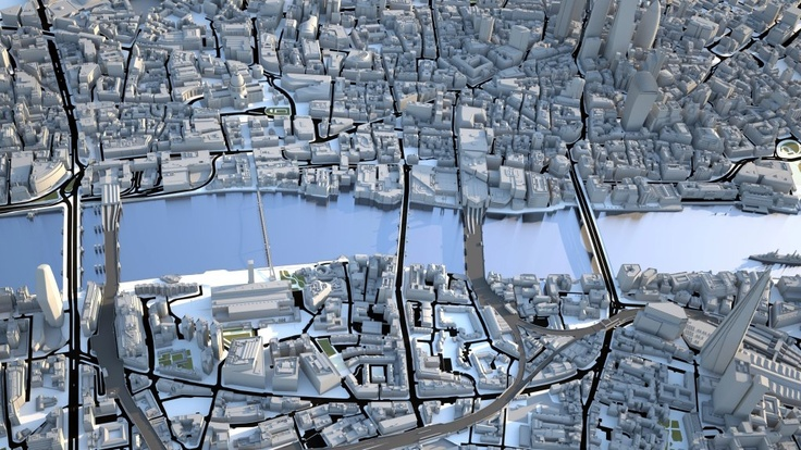 3D Model of London by Vertex Modelling. Test render 05/11/2012