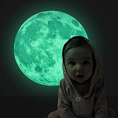 Luna Fluorescente molto Realistico Fantastico- Adesivi Murali Camera da Letto Soggiorno, Regalo Originale per Bambini Ragazzi Amici Natale Compleanno!