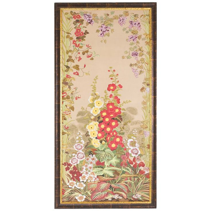 Chelsea House 31-0028B Hollyhocks B Antique Gold and Brown Frame Art