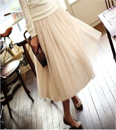 cute tulle skirt w/sweater for winter
