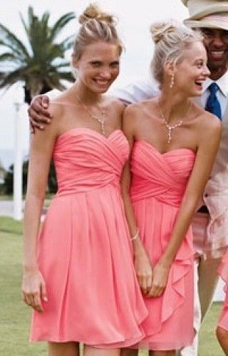 Beautiful Coral Strapless Knee Chiffon Bridesmaid Dresses