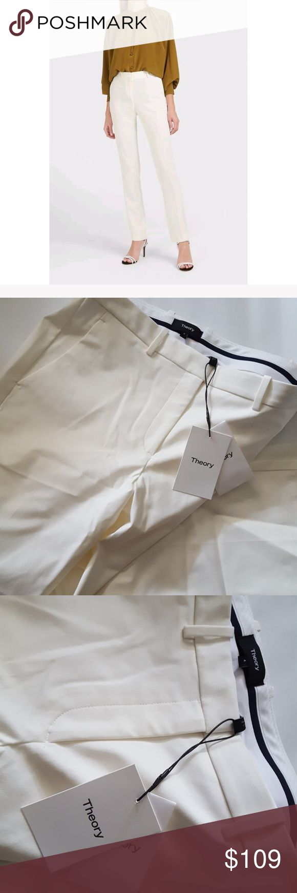 Theory Ivory Hartsdale NP Approach 2 Pants  Sz: 4 New With Tags Theory Ivory Hartsdale NP Approach 2 Pants  Size: 4 Retail 275.00 A solid pant with slant pockets, back button welt pockets and flare leg details to complete your next outfit.  Zip fly with hook-and-bar closure. Theory Pants Straight Leg