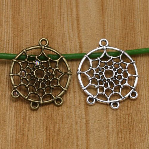 100Pcs Tibetan Silver Dreamcatcher Charm Pendant Connector DIY Craft Gifts