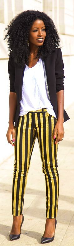 Leather Contrast  Blazer +  V-neck  Tee +  Striped  Sequin  Jeans