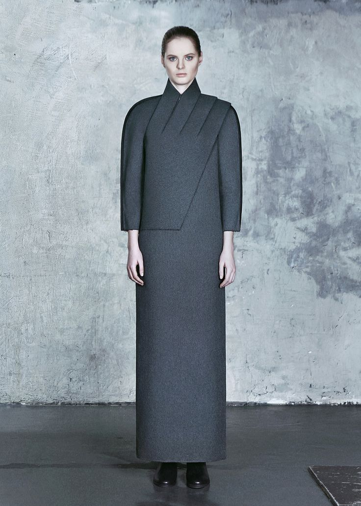 Skew Dress 595gbp | Dzhus | Shop | NOT JUST A LABEL. Ucraine. Dzhus clothing feature austere silhouettes, technical textures and greyscale palette inspired by architectural elements of Constructivism and Totalitaristic Classicism