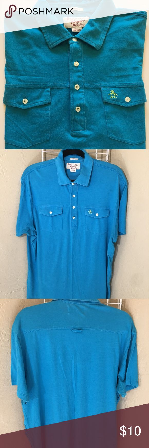 Large Penguin Polo Really nice Large Penguin brand shirt. Found it at TJ Maxx and have wore this shirt a lot. Shirt is still in great shape, the color is pretty live in person. Shirt fit me great around my midsection and arms since Im a little larger 5'10 230-240lbs. Original Penguin Shirts Polos