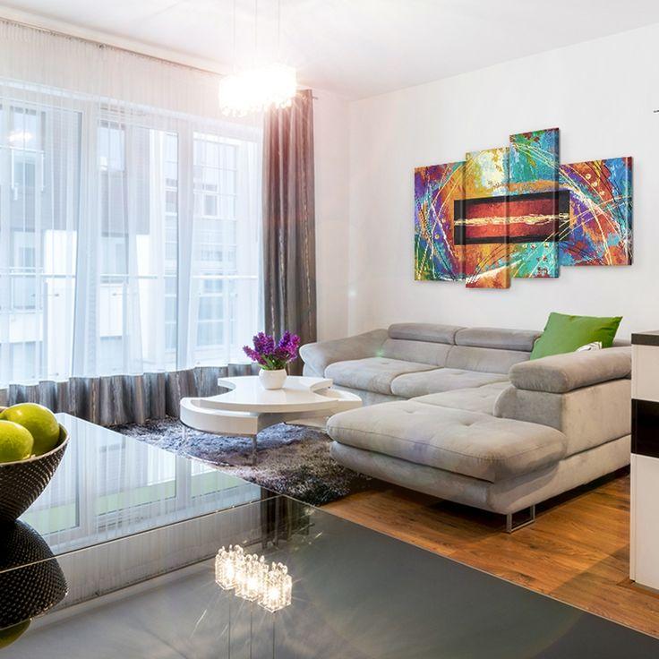 Cuadro sobre lienzo Colores del arco iris ❤ Un diseño dinámico, perfecto para el estilo decorativo moderno, fresco y urbano, ¡un truco fácil para darle un cambio de aire a tu piso!